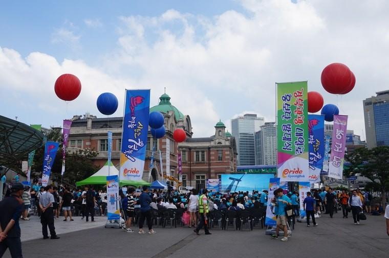 서울역 광장에서 개최된 경북관광 내일로 홍보단 발대식 연계 K스마일 캠페인